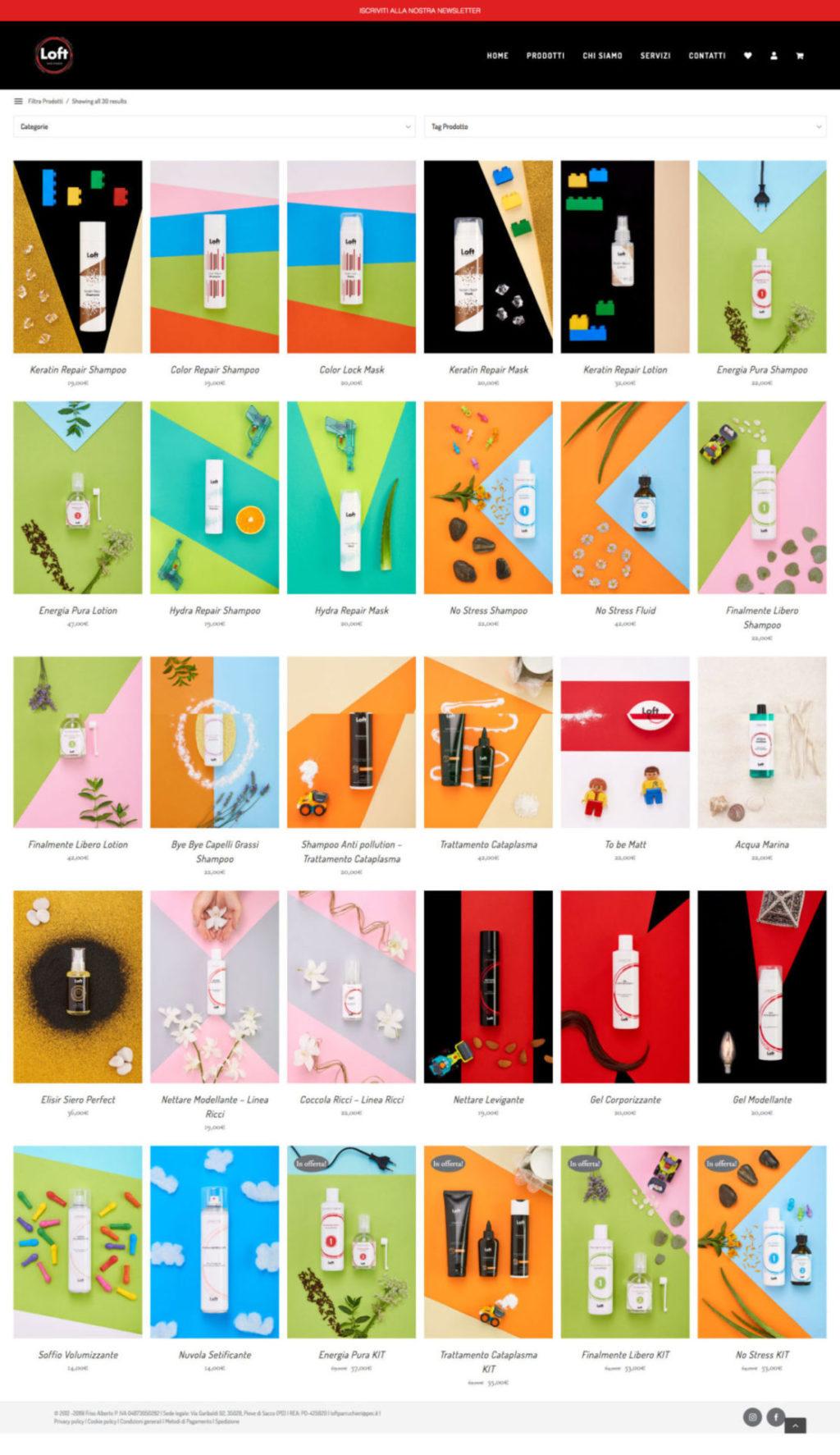 Product Page E-commerce website Loft Hair Studio