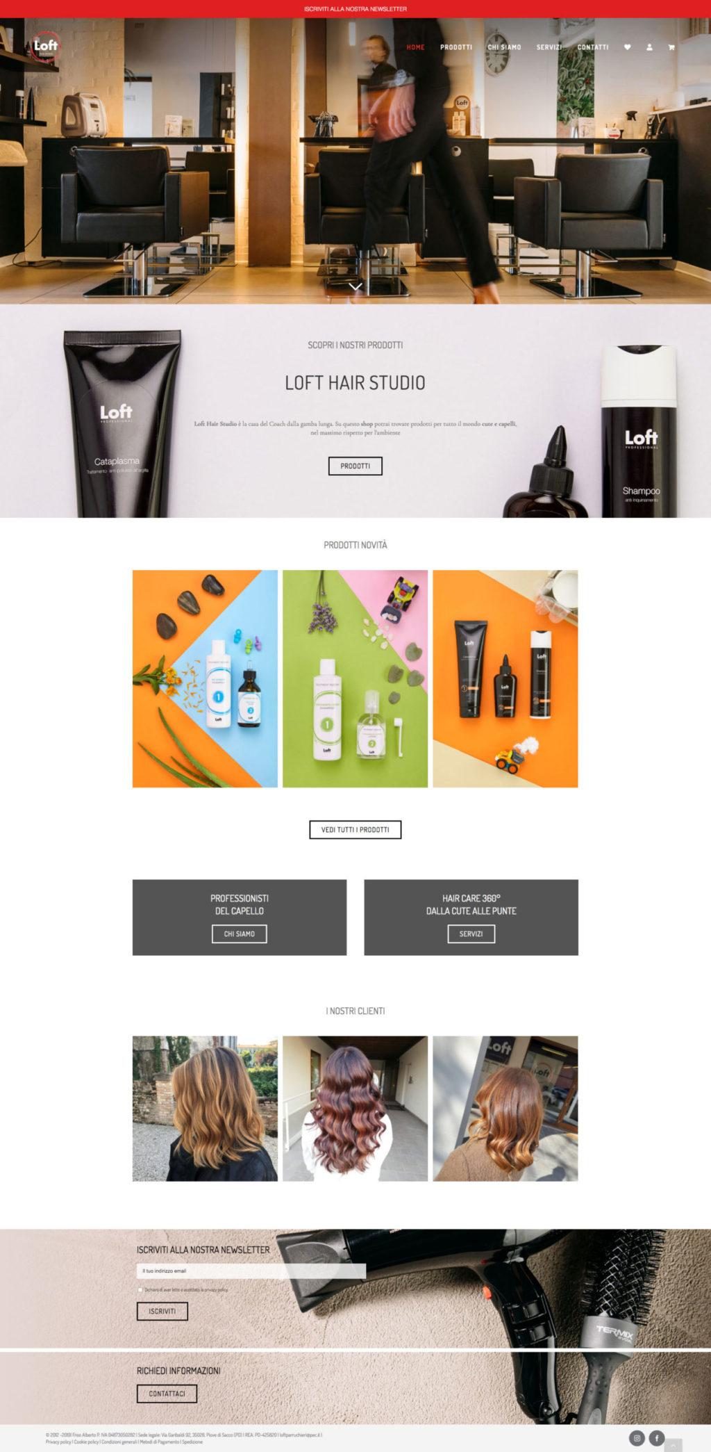 Home Page E-commerce website Loft Hair Studio