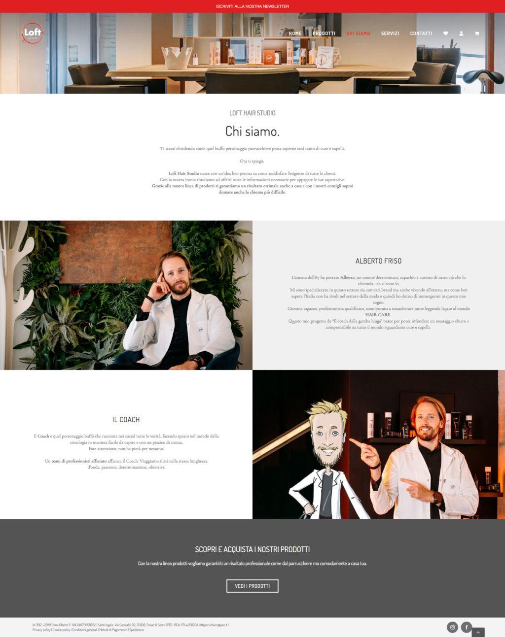 Page E-commerce website Loft Hair Studio