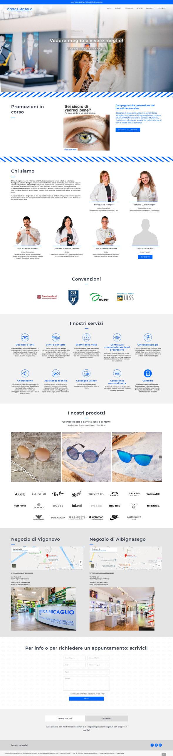 Home page website Ottica Micaglio