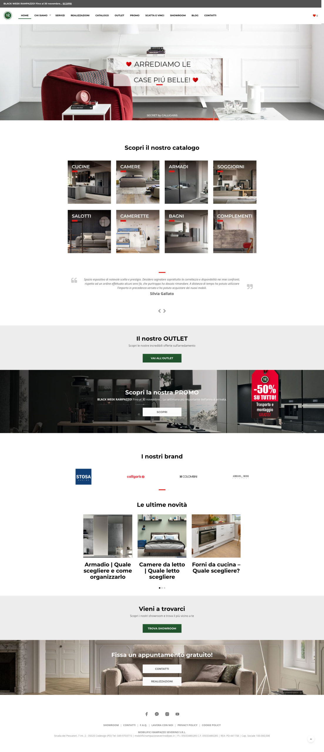 Home page website Mobilifici Rampazzo