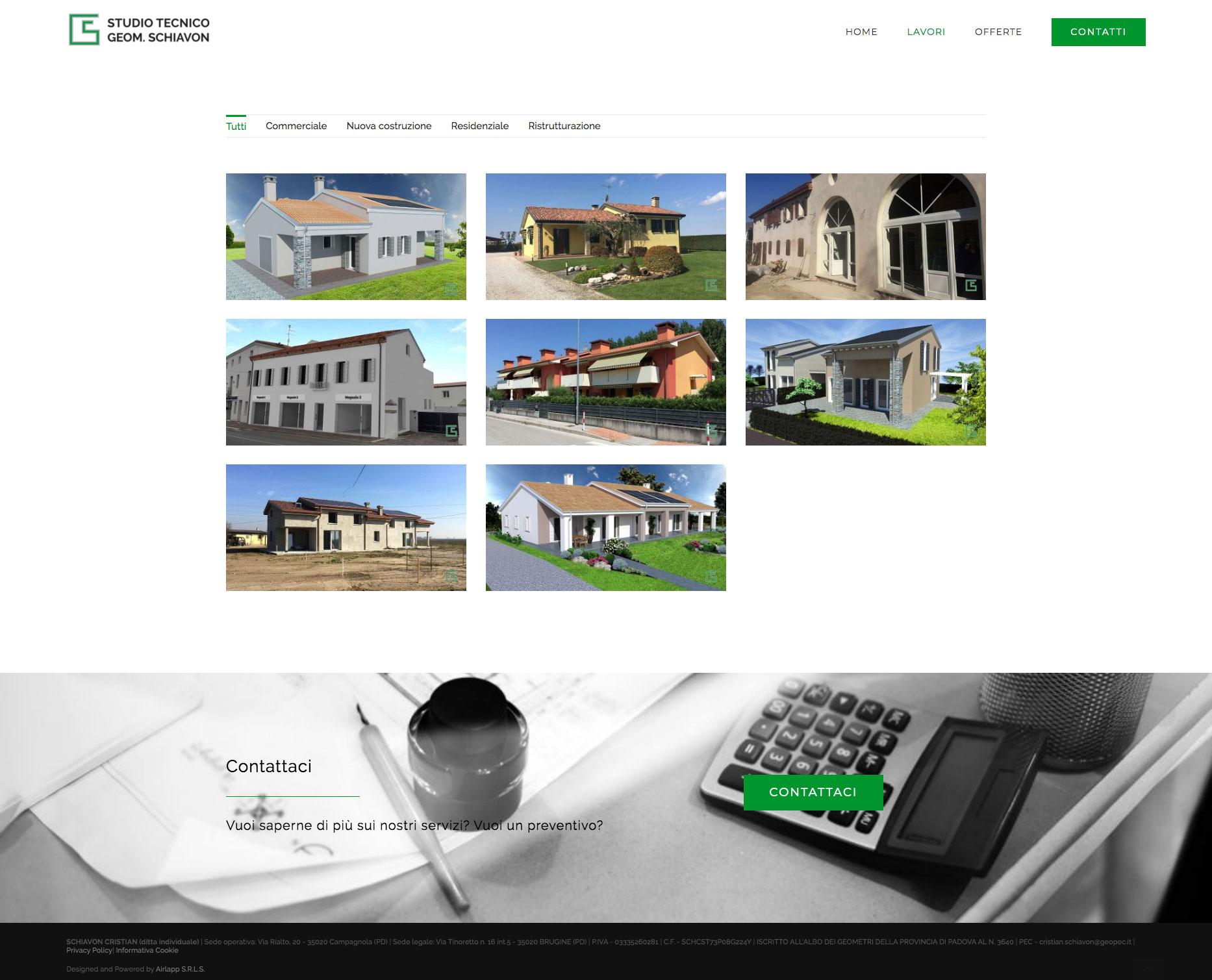 Portfolio page website Studio Tecnico Schiavon