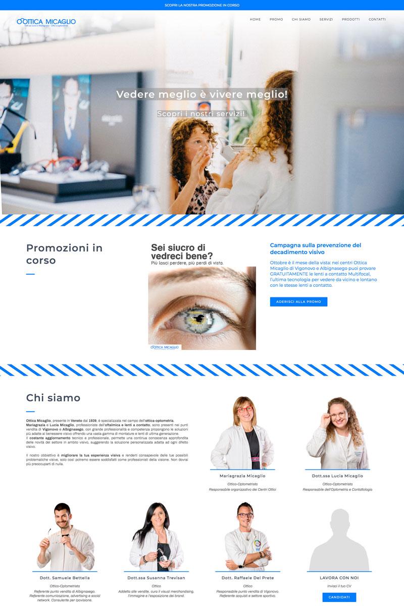 Ottica Micaglio web design by Adviroo